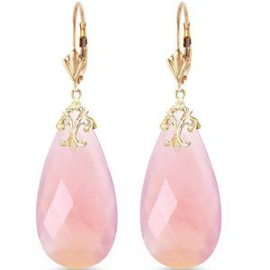 14K Gold Leverback Pink Chalcedony Earrings